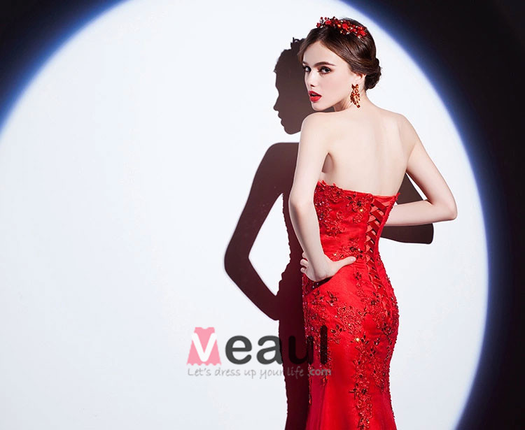 2015 Red Mermaid Lace Embroidered Evening Dress Formal Dress