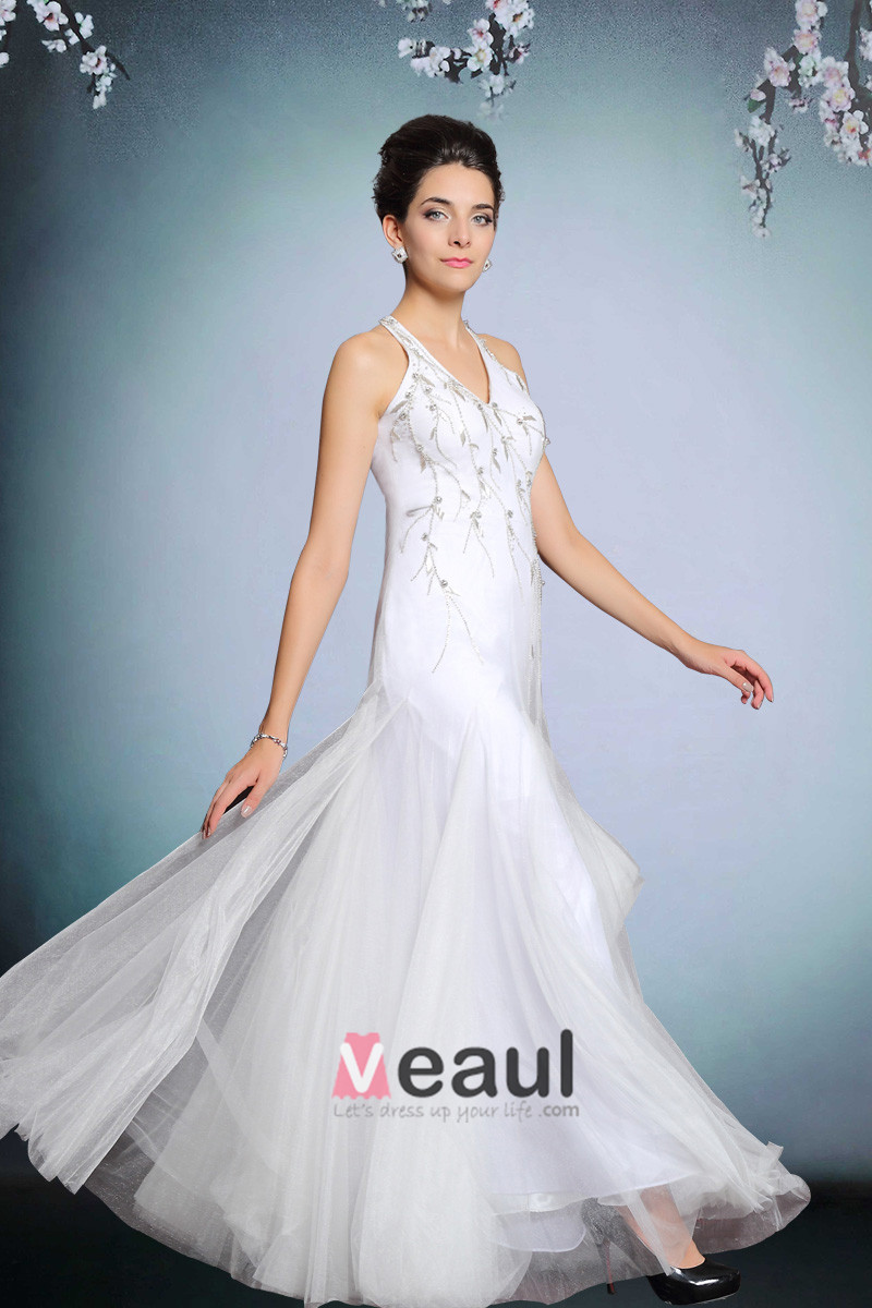 2015 White Beading Halter Long Evening Dress Party Dress