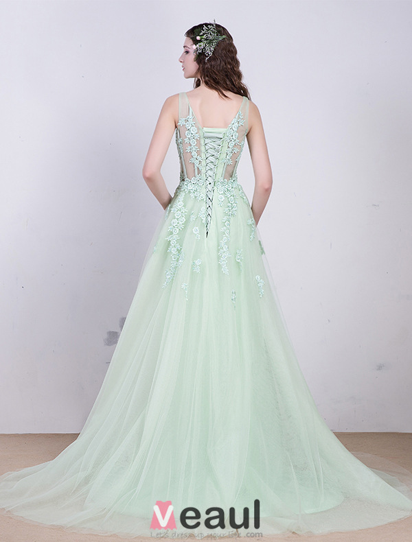 2016 Beautiful Square Neckline Applique Lace Flowers Long Organza Evening Dress