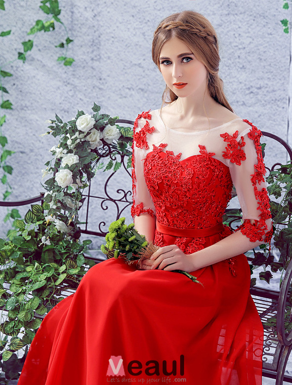 2016 Elegant Scoop Neck Applique Lace 1/2 Sleeves Red Chiffon Long Evening Dress With Sash