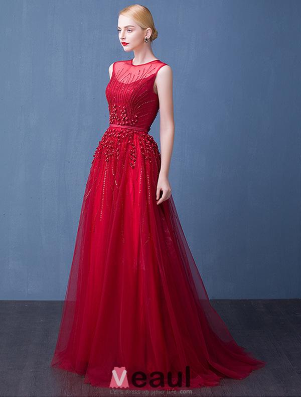 2016 Elegant Scoop Neck Beading Handmade Flowers  Backless Long Evening Dress With Sash