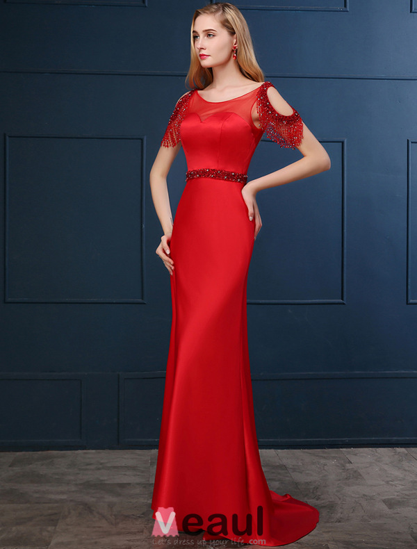 2016 Elegant Square Neckline Fringed Sleeves Backless Red Satin Evening Dress With Sequins Sash