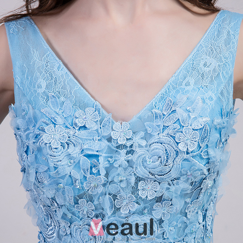 2016 Elegant V-neck Backless Lace Flowers Sky Blue Tulle Evening Dress With Sequins Sash