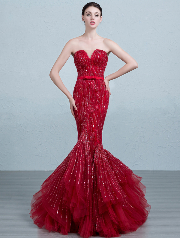 2016 Fashion Mermaid Strapless Sequins Burgundy Tulle Evening Dress With Sash