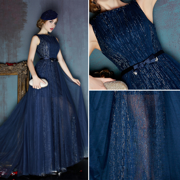 2016 Fashion Square Neckline Glitter Tulle Evening Dress With Bow Sash