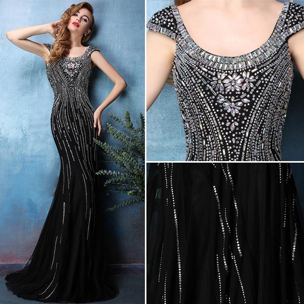 2016 Sexy Sparkly Mermaid Backless Beading Rhinestone Crystal Black Evening Dress