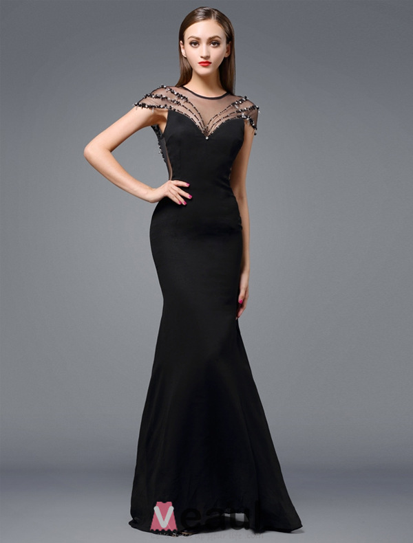 2016 Stunning Scoop Neckline Backless Beading Rhinestone Black ...