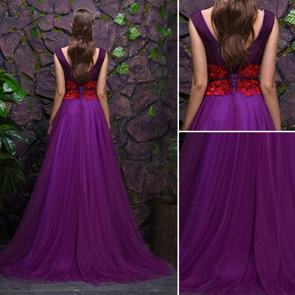 2016 Stunning Scoop V-neck Purple Satin Tulle Evening Dress With Lace Sash