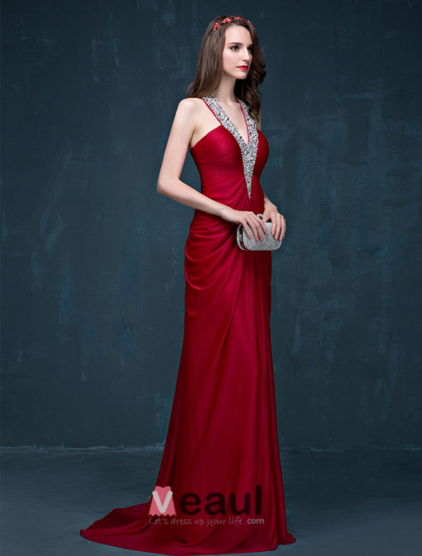 A-line Beading Sequins Halter V-neck Backless Ruffle Charmeuse Evening Dress