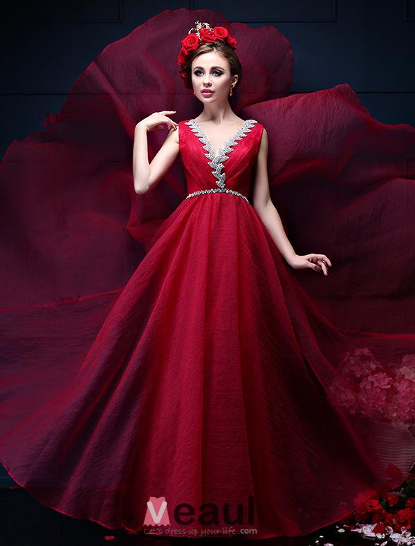 A-line Deep V-neck Beading Rhinestone Backless Pool Color Chiffon Evening Dress