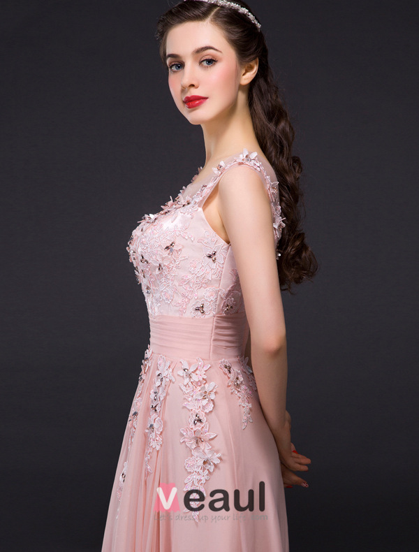 A-line Empire Scoop Neck Backless Applique Lace Crystal Pink Evening Dress
