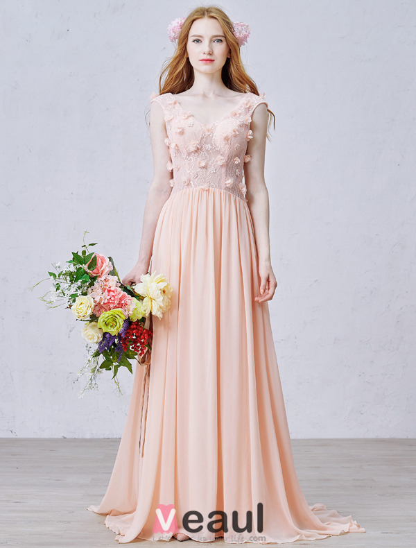 A-line Pierced Handmade Lace Flowers Backless Pearl Pink Chiffon Evening Dress