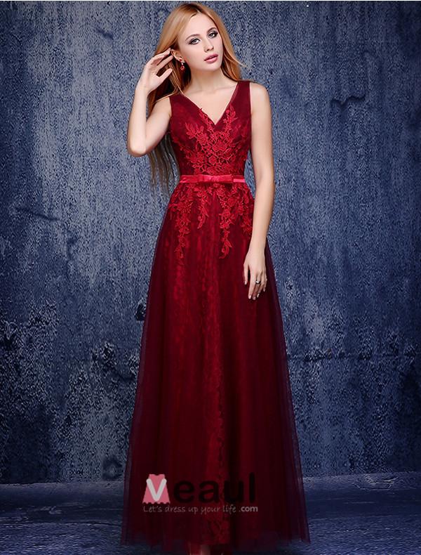 A-line V-neck Appliques Lace Burgundy Tulle Evening Dress