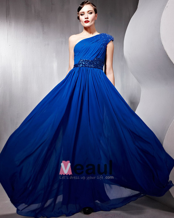 Beaded Ruffle Cotton Charmeuse Tulle Sloping Floor Length Evening Dresses