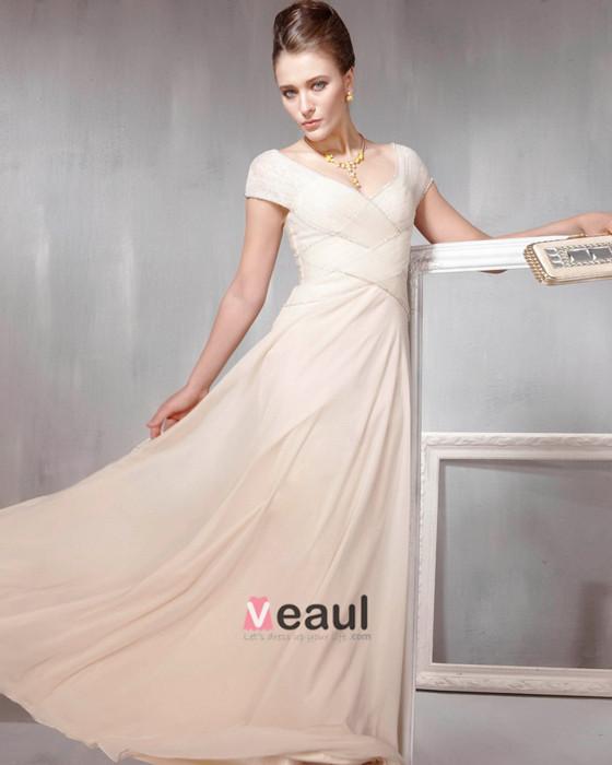 Beaded Ruffle Cotton Tulle V Neck Floor Length Evening Dresses