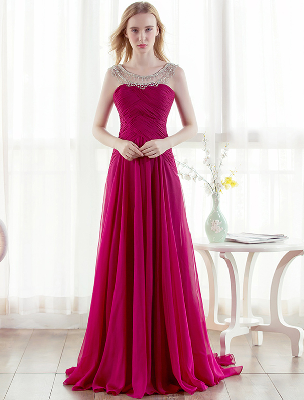 Beautiful Evening Dress Beading Rhinestones Neck Ruffle Fuchsia Chiffon Dress