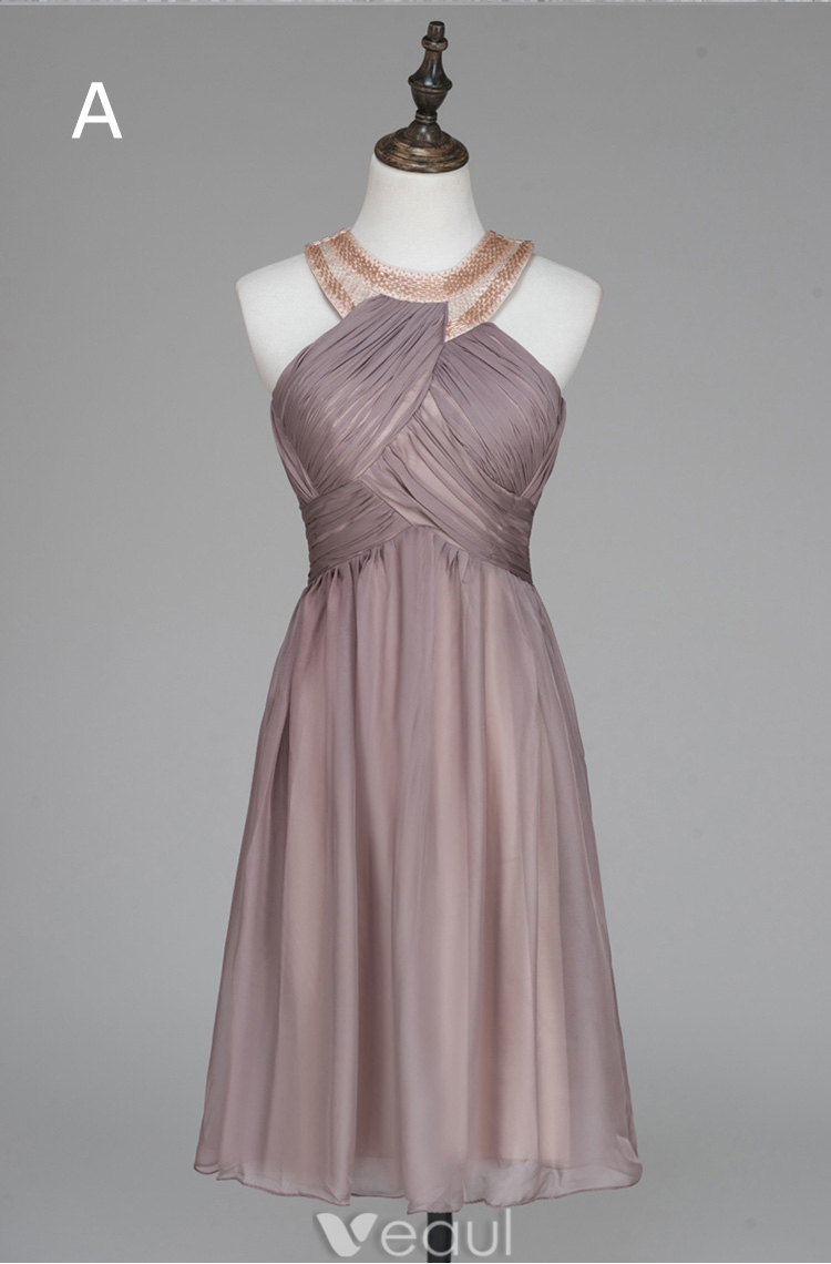 Beautiful Evening Dress Crystal Tube Scoop Neckline Ruffles Champagne Chiffon Dress