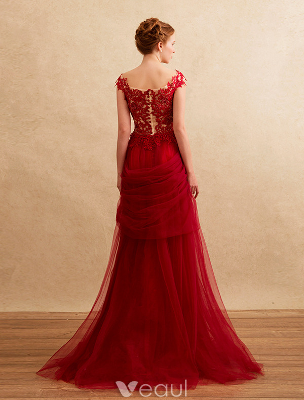 Beautiful Evening Dresses 2016 A-line Square Neck Beading Applique Lace Ruffle Tulle Burgundy Long Dress