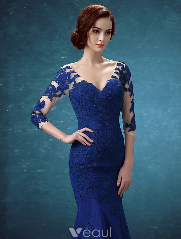Beautiful Evening Dresses 2016 Applique Lace Royal Blue Tulle Backless Long Formal Gown
