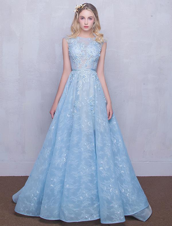 Beautiful Evening Dresses 2016 Scoop Neck Applique Lace Sky Blue ...
