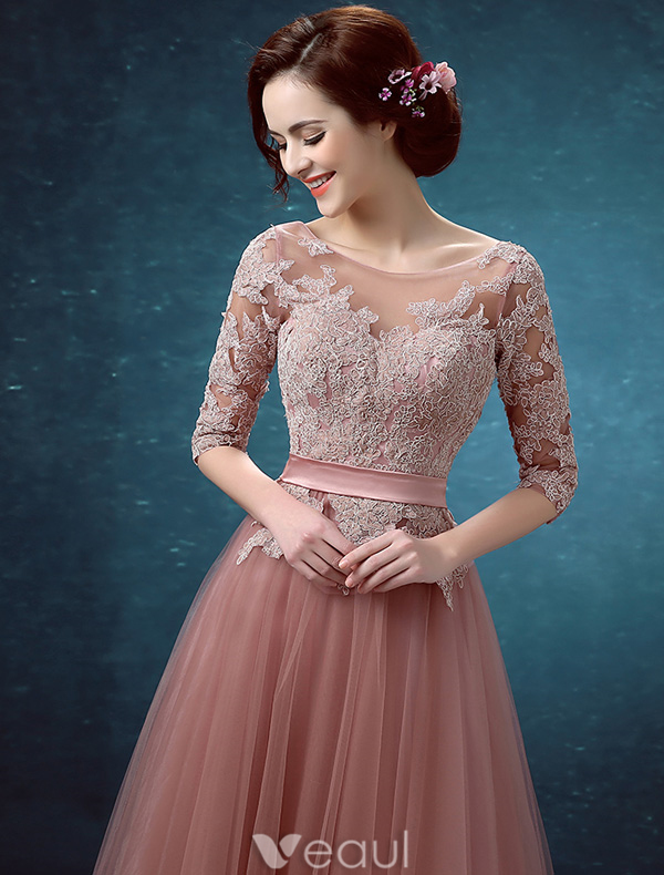 Beautiful Evening Dresses 2016 Scoop Neckline Applique Lace 1/2 Sleeves Backless Long Dress With Sash