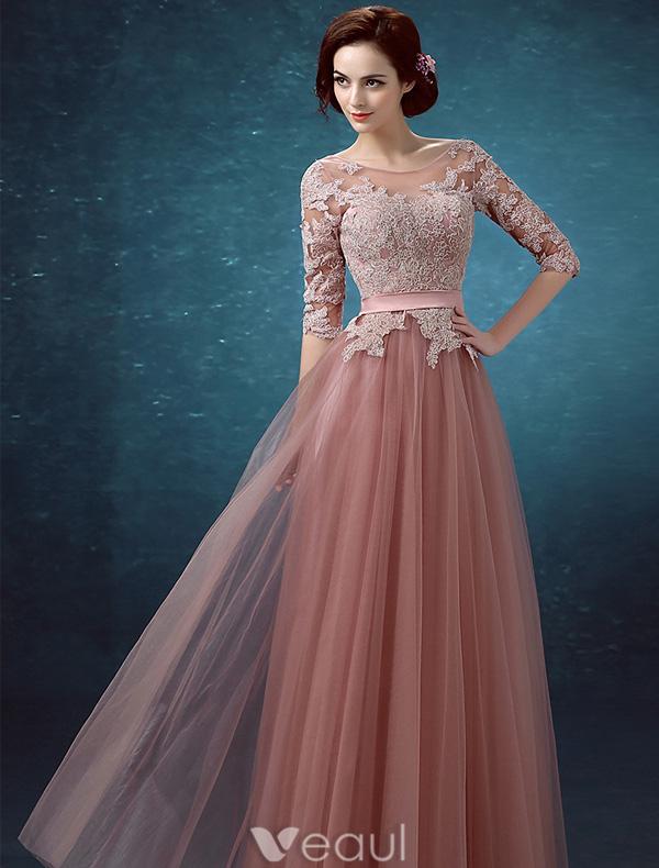 Beautiful Evening Dresses 2016 Scoop Neckline Applique Lace 1/2 ...
