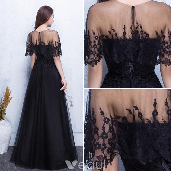 Beautiful Evening Dresses 2017 Applique Lace With Black Long Dress