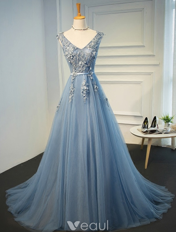 Beautiful Evening Dresses 2017 Beading V-neck Applique Lace And Flowers Blue Long Dress