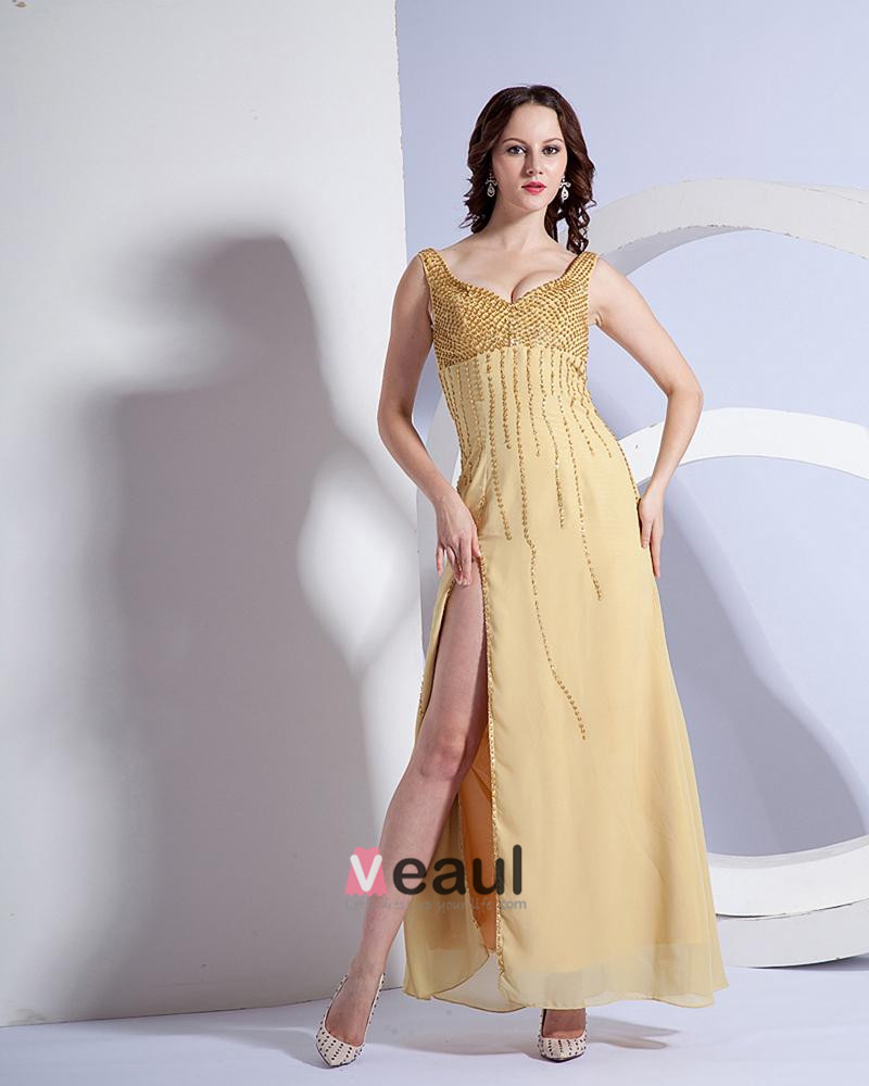 Beautiful Spaghetti Straps Sweetheart Side Vent Floor Length Evening Dress NS-180