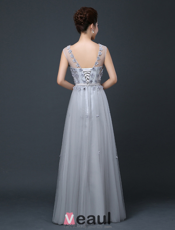 Charming Grey Formal Dress Backless Long Evening Dress With Flowers For 2016 New Year Eve Christmas Party Dress