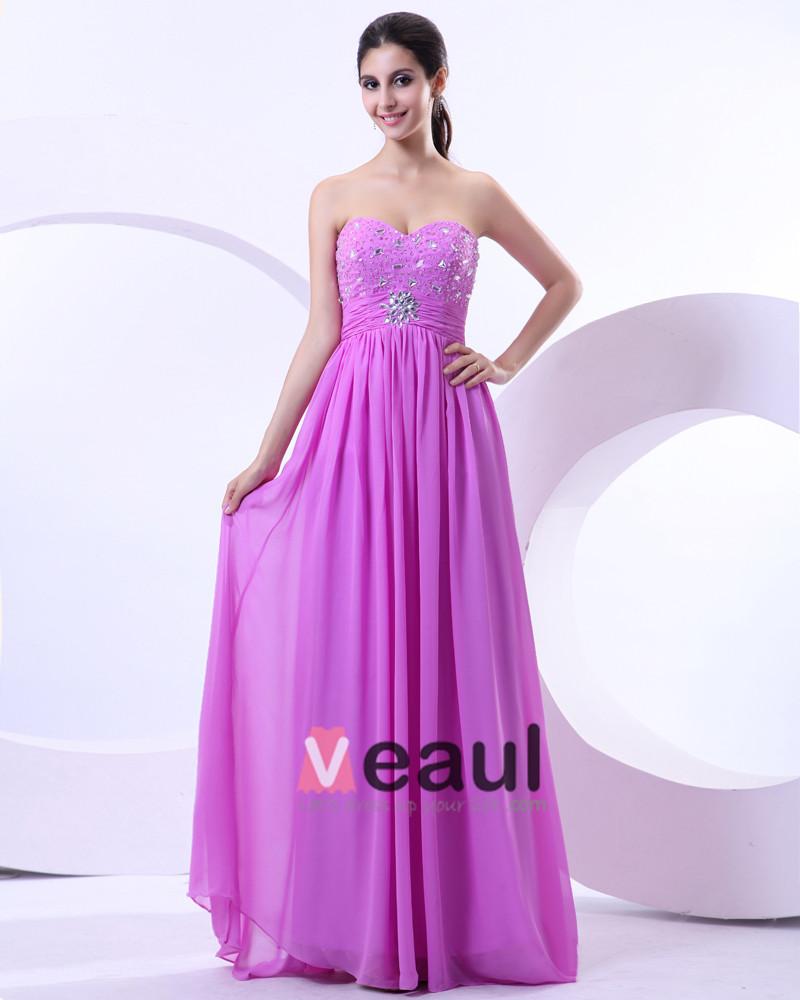 Chiffon Bead Sweetheart Floor Length Evening Dresses