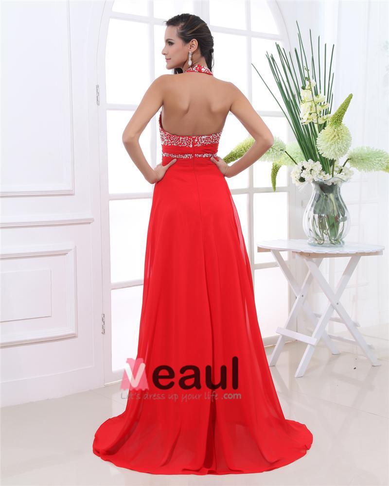 Chiffon Beaded Ruffles Halter Floor Length Evening Dresses