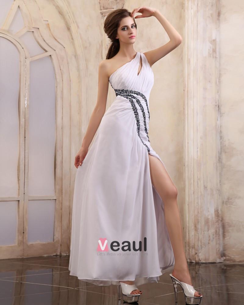 Chiffon Beading Ruffle One Shoulder Ankle Length Evening Dresses