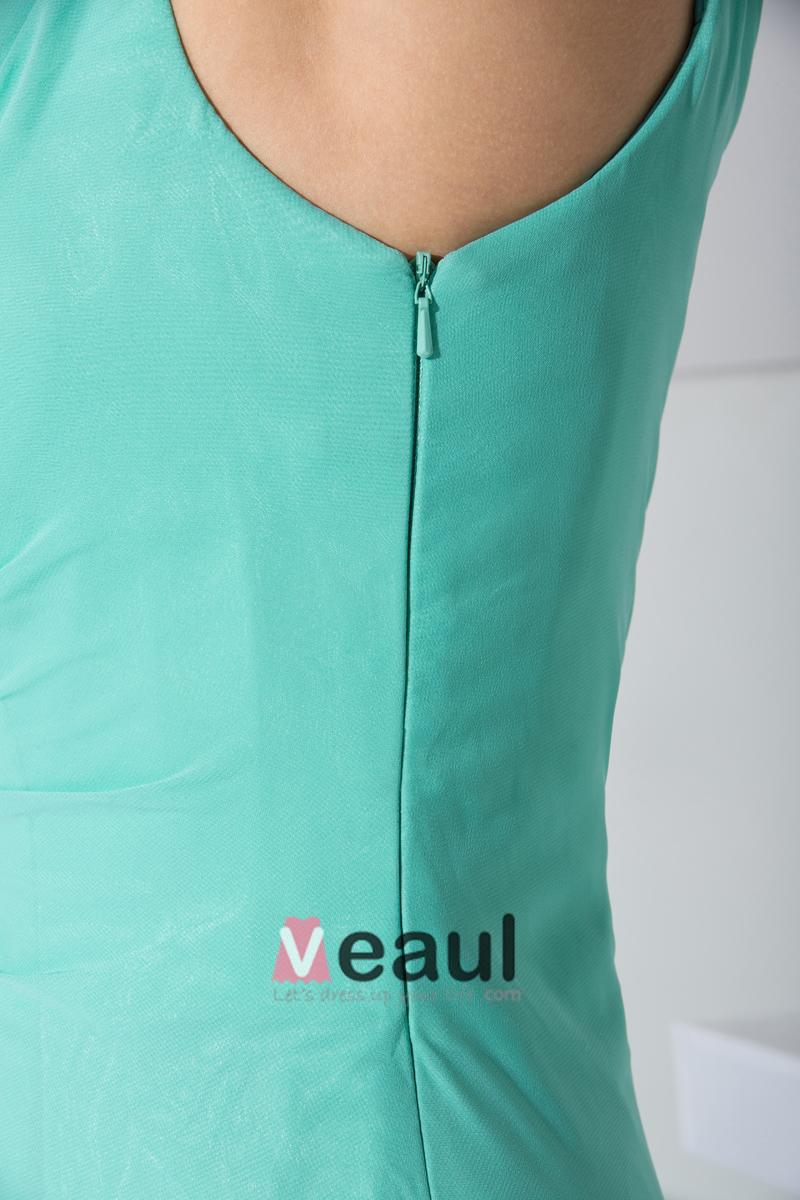 Chiffon Beading Slopping Side Zipper Ruffle Sleeveless Court Train Celebrity Dress