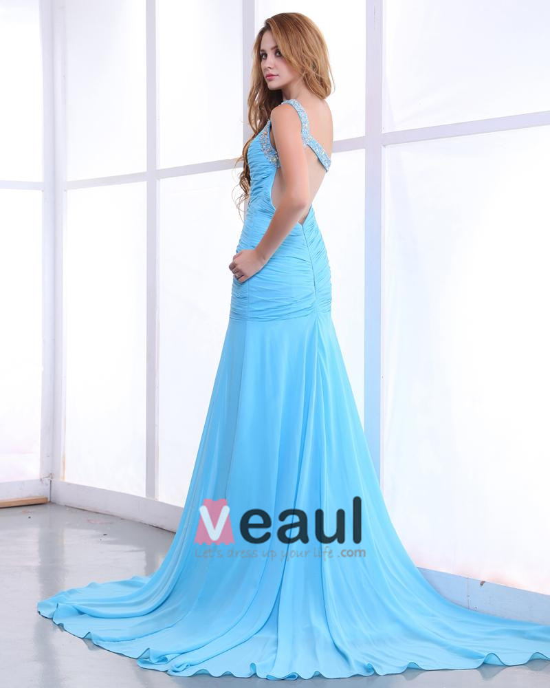 Chiffon Charmeuse Ruffle Floor Length One Shoulder Evening Dresses