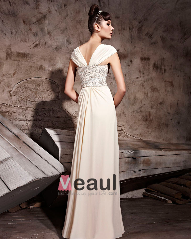 Chiffon Floor Length Sabrina Zipper Evening Dresses