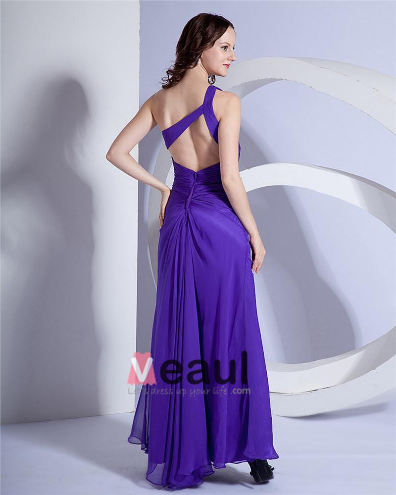 Chiffon Pleated Beading One Shoulder Applique Floor Length Evening Dresses