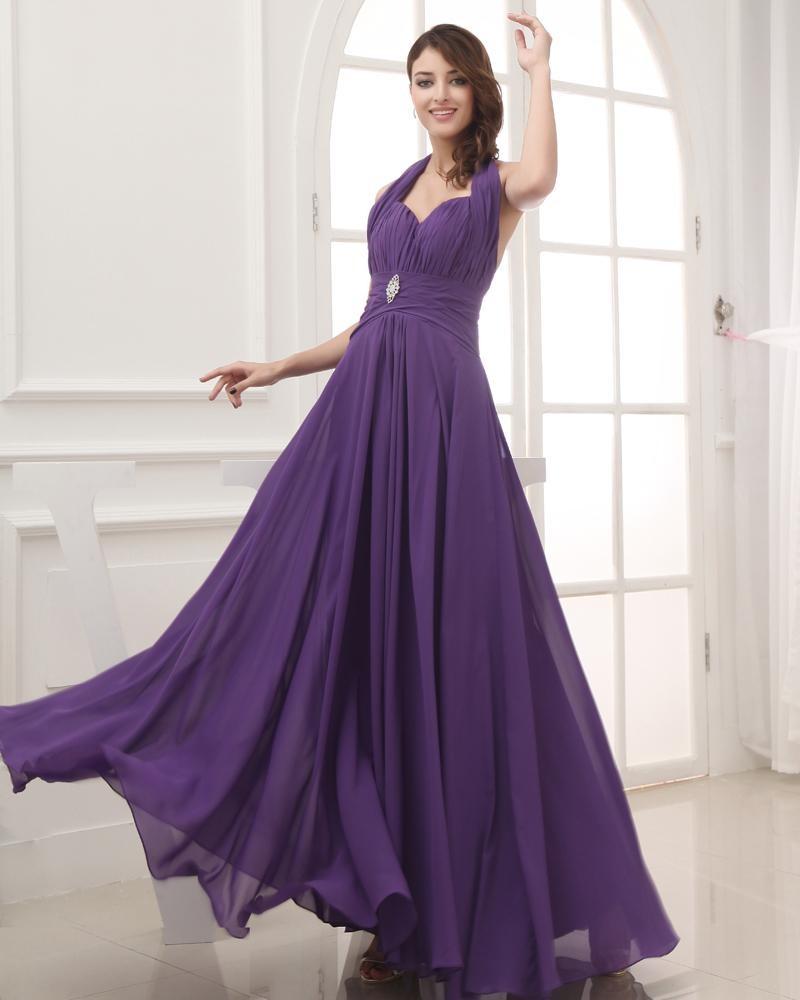 Chiffon Satin Silk Beading Ruffle Halter Sleeveless Backless Floor Length Pleated Evening Dress
