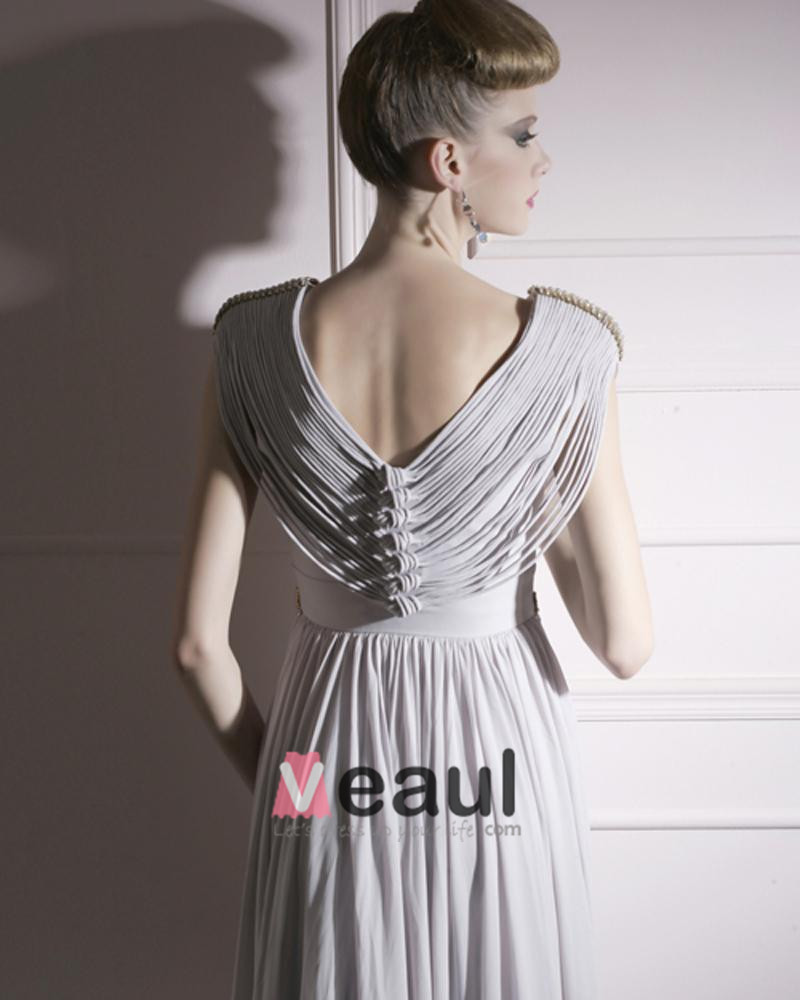 Cloth Charmeuse V-neck Neckline Bead Floor Length Evening Dress