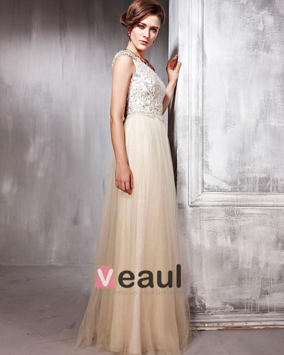 Diamond Tulle Charmeuse Beading Pleated One Shoulder Floor Length Evening Dresses