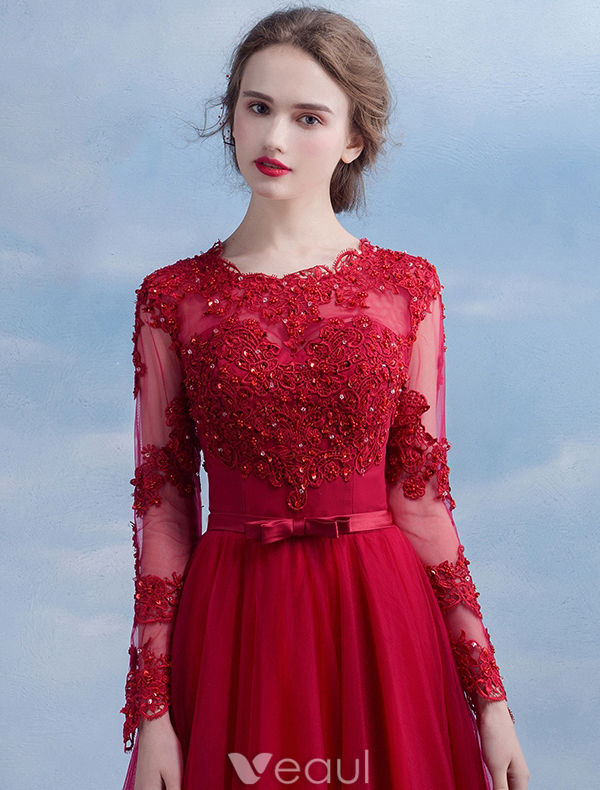 Elegant Evening Dress 2016 A-line Scoop Neck Applique Lace Ruffle Burgundy Tulle Long Dress With Long Sleeves