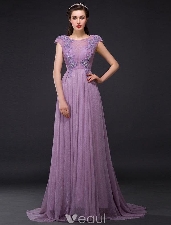Elegant Evening Dresses 2016 A-line Cap Sleeves Glitter Lilac Tulle Beading Rhinestones Long Dress