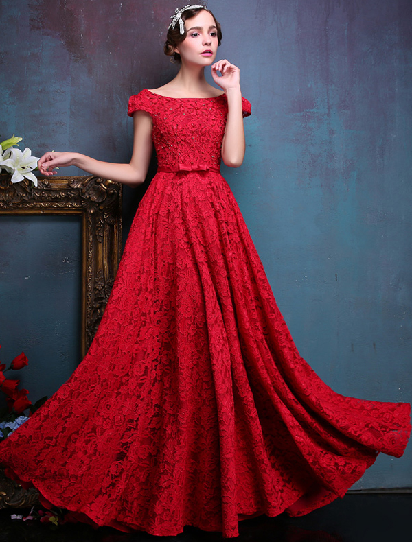 Elegant Evening Dresses 2016 Backless Short Sleeves Beading Red ...