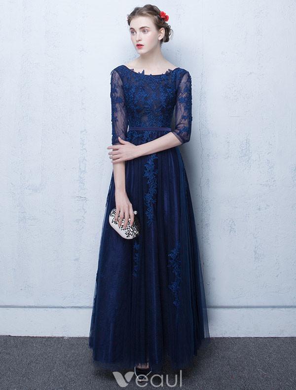 Dark blue lace wedding dress 2017