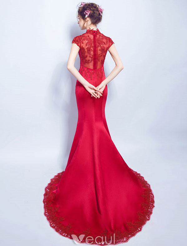 Elegant Long Evening Dress 2017 Red Lace Mermaid Dress High Neck
