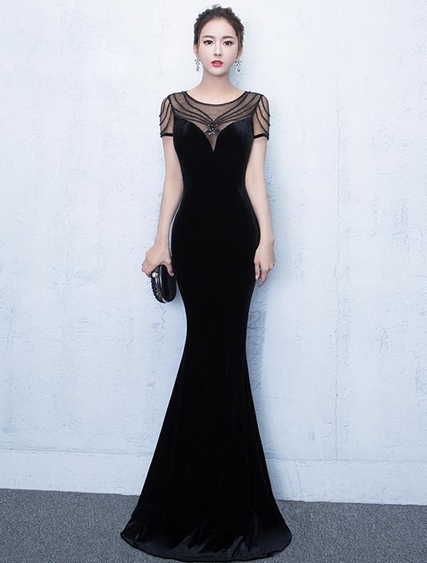 Elegant Mermaid Evening Dresses 2017 Scoop Neck Beaded Black Dress