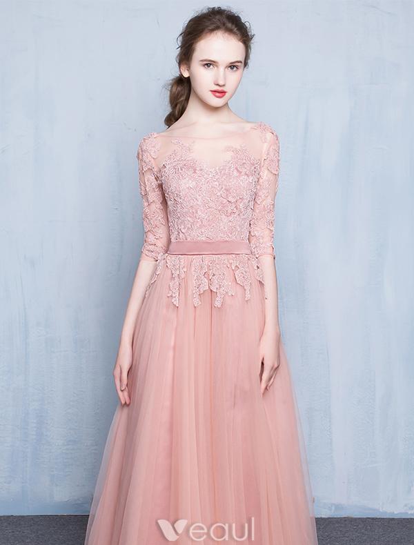 Elegant Pink Evening Dress 2016 A-line Scoop Neck Applique Lace ...