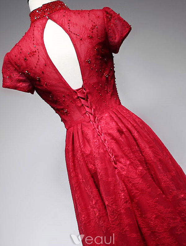 Elegant Red High Neck Evening Dress 2017 Lace Beaded Backless Qipao With Short Sleeves