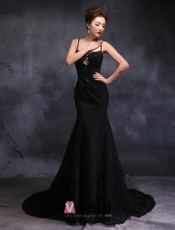 Elegant Spaghetti Straps Sweetheart Appliques Lace Evening Dress