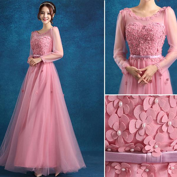 Empire Scoop Neckline Beading Applique Flowers Pink Tulle Evening Dress